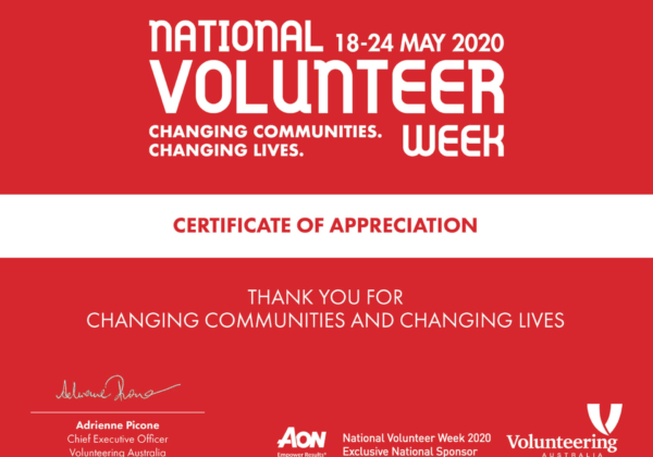 Send an online Certificate of Appreciation to your volunteers